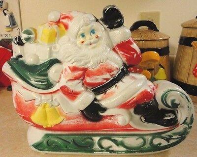 "13"" VTG EMPIRE TABLE TOP SANTA IN SLEIGH GIFTS CHRISTMAS BLOWMOLD LIGHT UP DECOR"