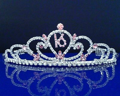 SparklyCrystal Sweet 16 Birthday Princess Party Prom Crown Crystal Tiara 50695