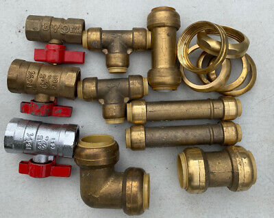 Lot Of 15 Brass Fittings Plumbing Push Fit Tee Coupling Off Valve 90 Degree Tube