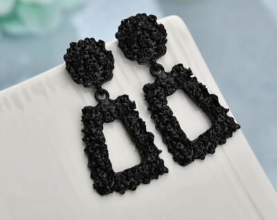 "2"" Black Metallic Earrings Carved Texture Geometric Zara Za Style Statement"