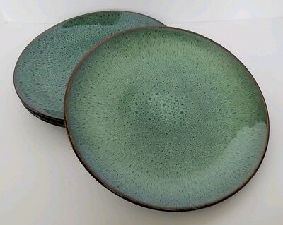 Threshold BELMONT GREEN Set of 3 Coupe Dinner Plates Green Speckled Stoneware  - Green Plate Set