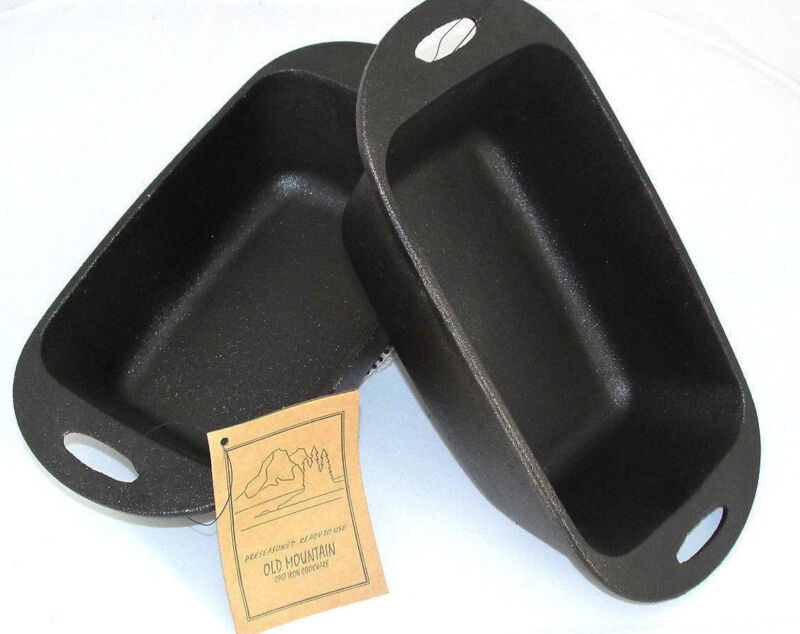 Loaf Pan - Pre-Seasoned Cast Iron 11-3/4 inches By Old Mountain 2 Pc. set