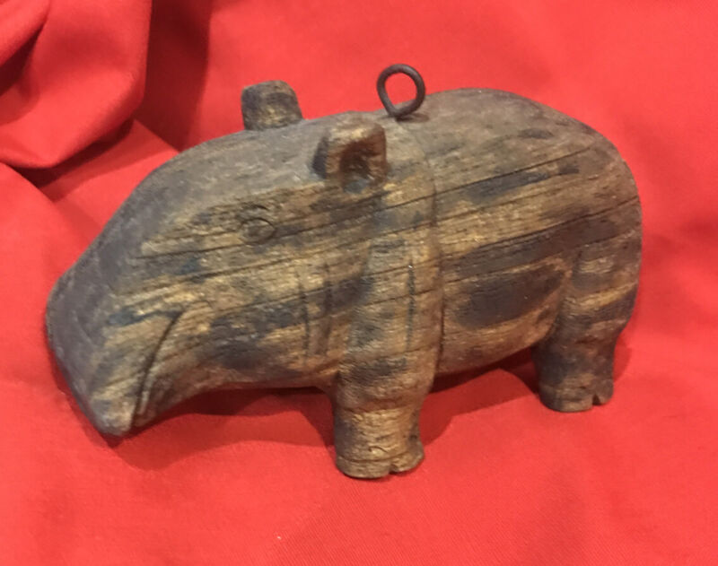 Vintage Hand Carved Wooden African Hippo Figurine