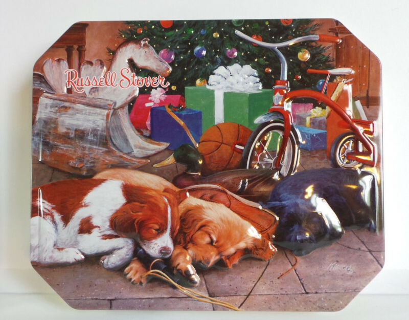 "Dogs Sleeping Under Christmas Tree, Hinged Tin, Russell Stover""Christmas Dreams"""