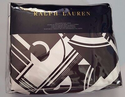 RALPH LAUREN ELLINGTON DECO BLACK WHITE FULL/QUEEN DUVET COVER  ()