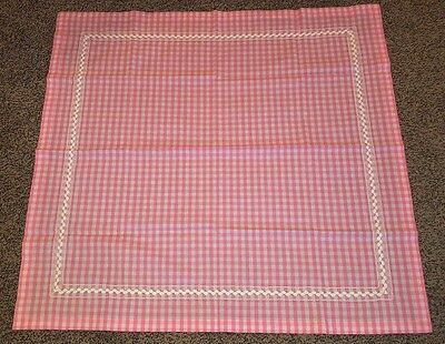 Vintage handmade pink checked gingham cottage tablecloth square detail stitch