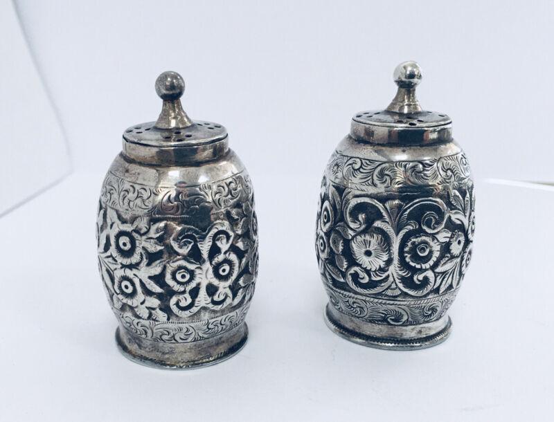 Estate 1887 Signed BHJ Sterling Silver Salt Pepper Shaker Repousse Flower Scroll