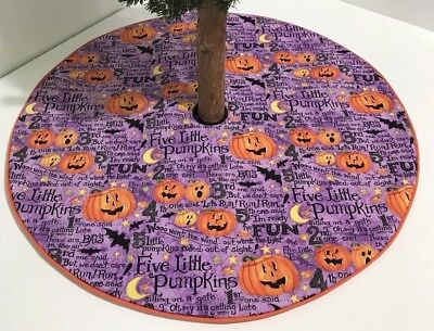 "Halloween Christmas Tree Skirt - 20.5"" – Five Little Pumpkins Rhyme -Custom - Halloween Tree Skirt"