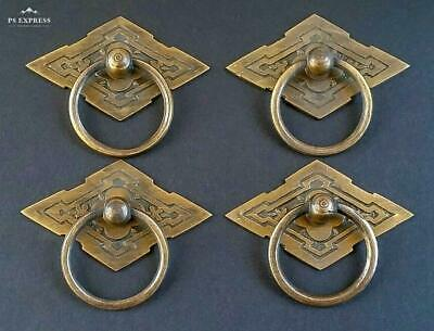 4 Eastlake Antique Style Brass Ornate Ring Pulls Handles 2-3/8