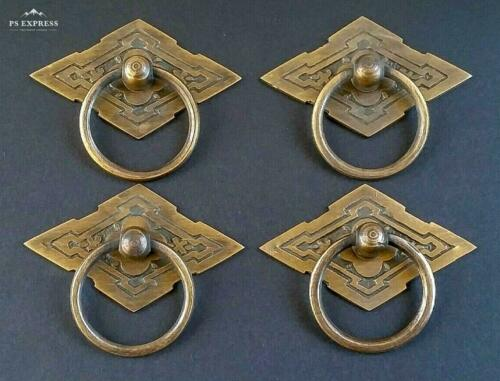 "4 Eastlake Antique Style Brass Ornate Ring Pulls Handles 2-3/8"" wide #H15"