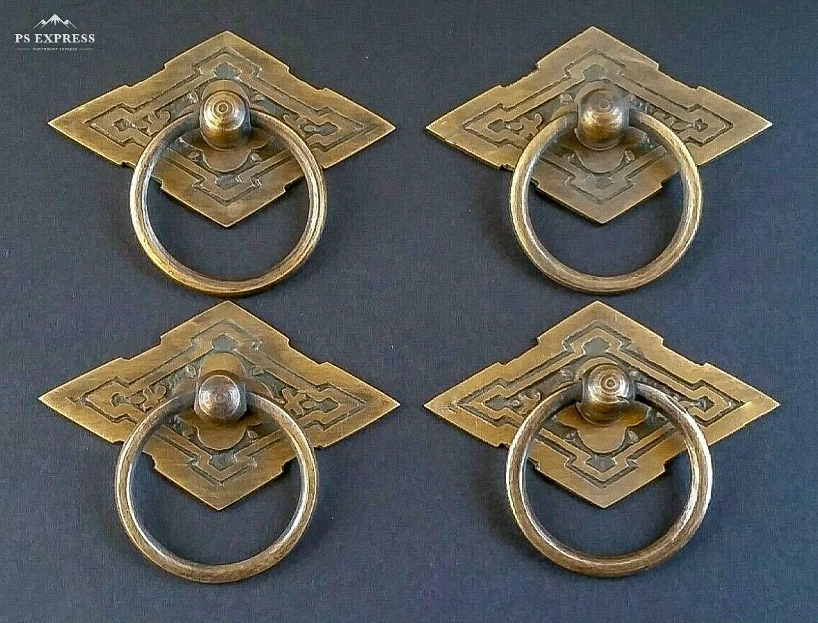 4 Eastlake Antique Style Brass Ornate Ring Pulls Handles 238 wide H15