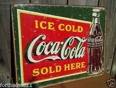 Ice Cold Coca Cola Tin (ICE COLD GREEN COKE Tin Metal Sign Classic Coca Cola Wall Bar Pub)