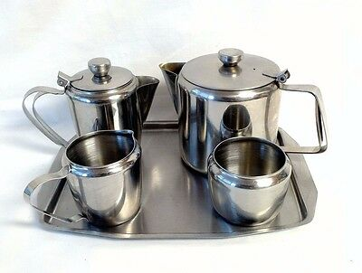Vintage 18/8 Stainless Steel 4 Piece Tea Set Teapot Sugar Bowl Milk & Jug + Tray