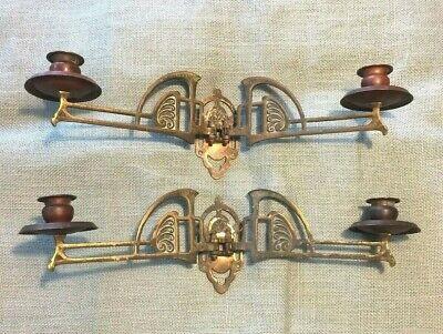 Art Deco Copper Sconce ( ORNATE ART DECO COPPER & BRASS ART NOUVEAU PAIR MOUNTED SCONCE CANDLE HOLDERS)