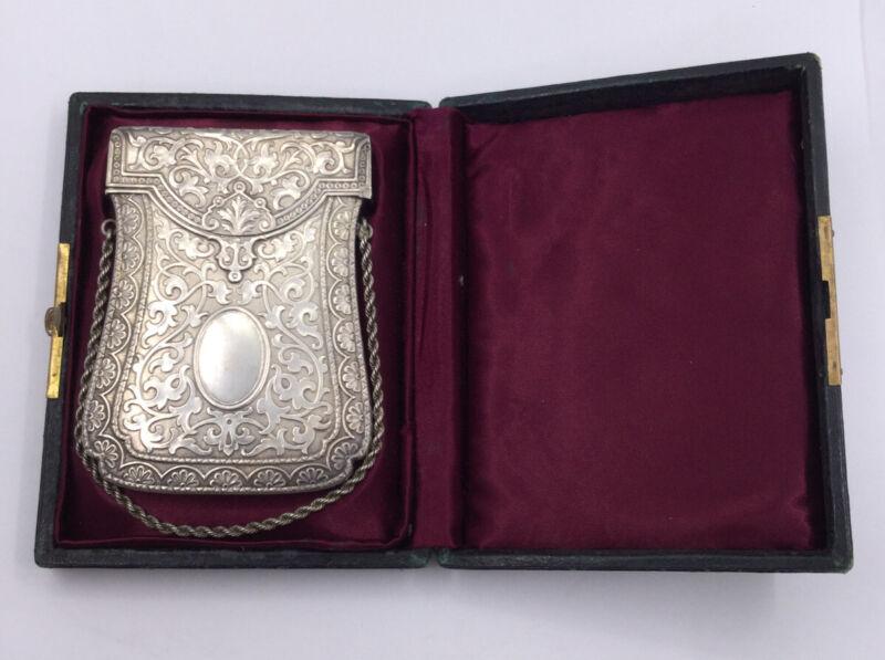 VICTORIAN STERLING CARD HOLDER IN ORIGINAL BOX - 1879 (S228)
