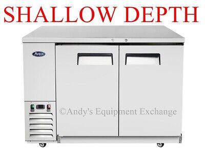 59 2 Door Shallow Depth Back Bar Cooler Refrigerator 24.5 Deep Cans Bottles