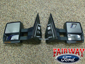 07 thru 14 F-150 OEM Ford Power Heat Telescopic Trailer Tow Mirrors PAIR