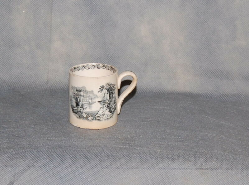 Antique English Creamware Black Transferware Child