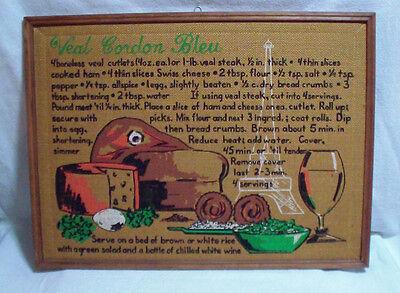 Decorative Bulletin Board (Vintage Creative Decorative Inc Framed Bulletin Board Veal Cordon Bleu Recipe)