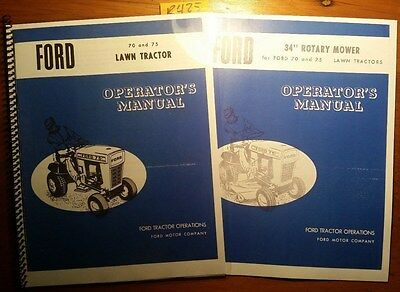 Ford 70 75 Lawn Tractor Owners Operators Manual 670 34 Rotary Mower 1170