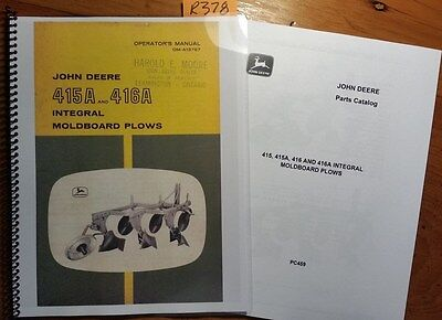 John Deere 415a 416a Integral Moldboard Plow Owner Operator Manual 64 Parts 64
