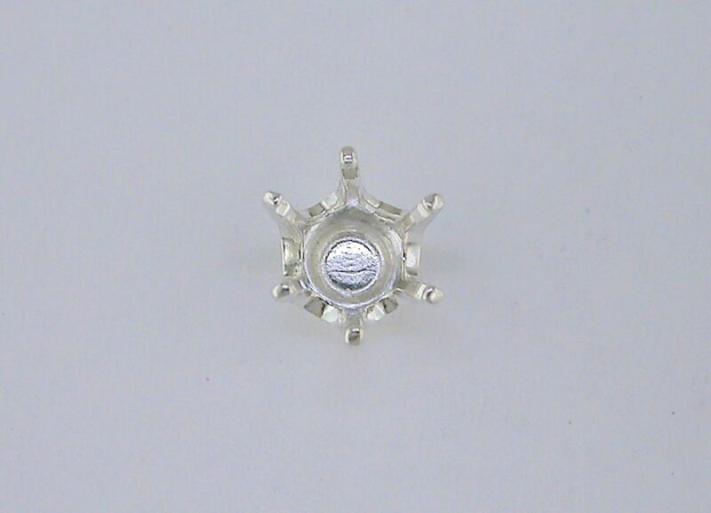 6 Prong Faceted Round Tie Tack Setting Sterling Silver
