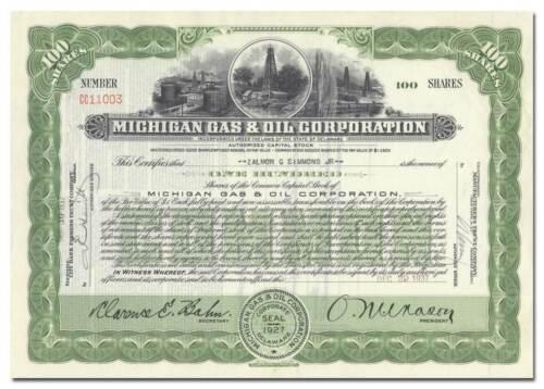Michigan Gas & Oil Corporation Stock Certificate (Beautiful Vignette)