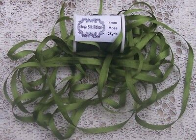 """100%PURE SILK EMBROIDERY RIBBON 1/8""""[4MM] WIDE 25 YDS ~MOSS  ~  COLOR"""