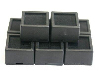 12 Glass Top Square Gem Jars Box Black Gemstones Coin Whiteblack Foam 1 116