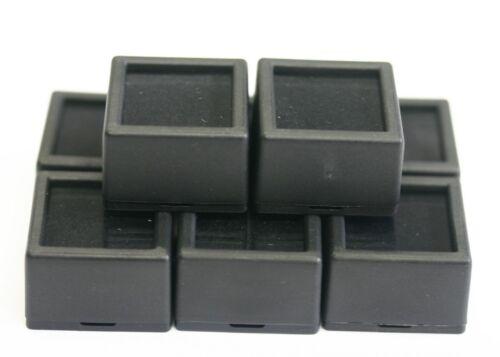 "12 Glass top Square Gem Jars Box Black Gemstones Coin White/Black Foam 1 1/16"""