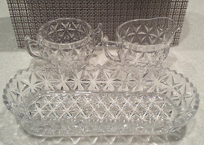 Vintage 3 pc Set Heavy Cubist Glass Cream, Sugar, Oval Serving Bowl