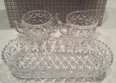 Vintage 3 pc Set Heavy Cubist Glass Cream, Sugar, Oval Serving Bowl