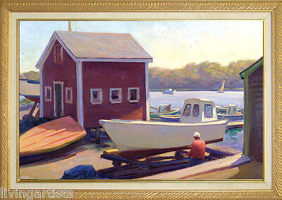 Ocean WOODEN BOAT WORKS 18x28 Framed Giclee Painting on Canvas **SALE