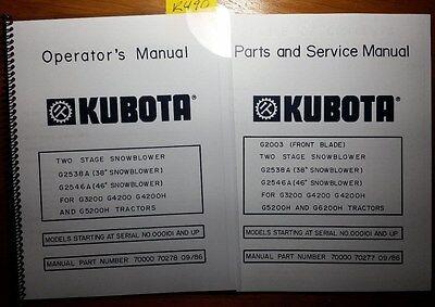 Kubota G2538a 38 G2546a 46 Snowblower G3200 G4200 G4200h G5200h G6200h Manual