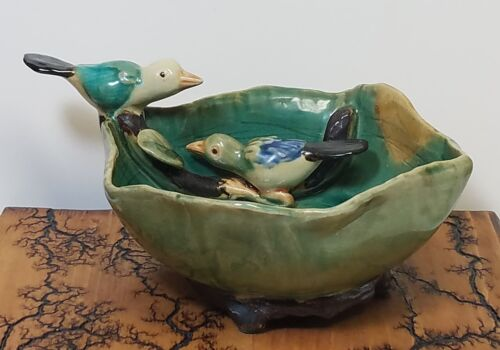 Vtg Majolica Pottery Bowl Dish with Birds on Branch
