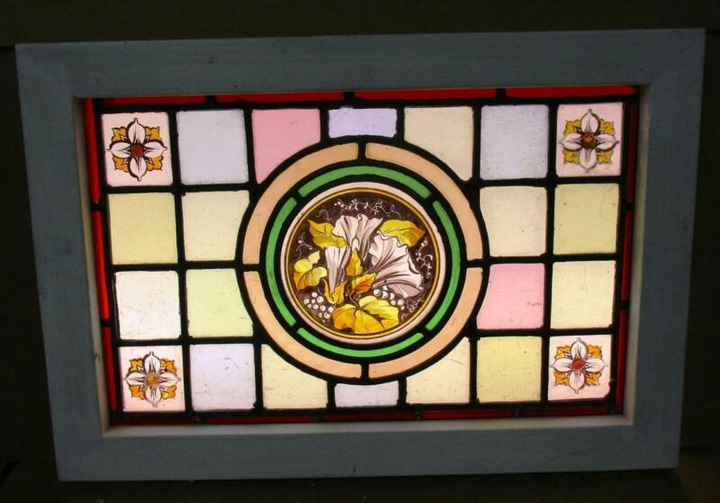 "VICTORIAN ENGLISH LEADED STAINED GLASS WINDOW Hand Painted Flowers 19"" x 13"""