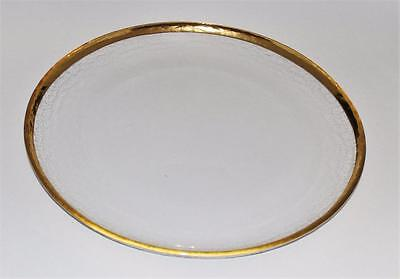 Art Glass Clear w/ Gold Rim, Charger, Chop Plate, Round Serving Platter, 12 1/2