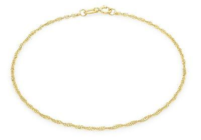 """9ct Yellow Gold 16 Twist Curb Chain Bracelet 23cm/9"""" Thin Womens Anklet Gift"""