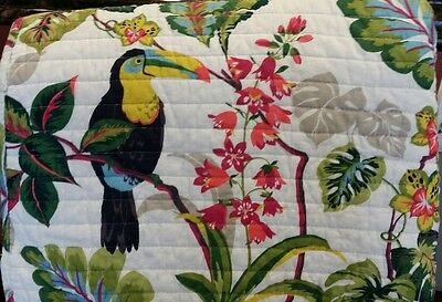 NEW TROPICANA 2PC TWIN QUILT & SHAM TOUCAN BIRD TROPICAL FLOWERS LEAVES GREEN CO