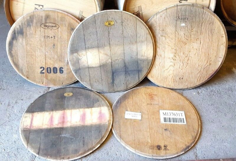 Authentic Wine Barrel Head Solid Oak With cooperage Logo FREE SHIPPING!