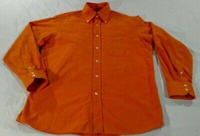 LACOSTE F4450 Button Down Shirt Mens Size 42 Large Long Sleeve Orange Cotton VGC
