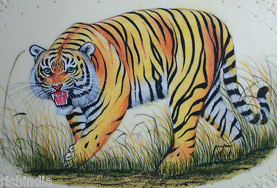 Bengal tiger Indian Animal Wild life Miniature Painting Handmade Forest ART