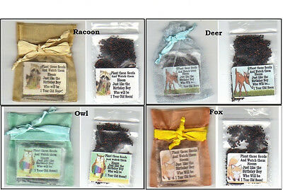 24 Seed Favors for Baby Boy's 1st Birthday * Animal Theme *+ Poem  - Birthday Themes For Baby Boy