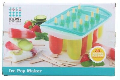 Sweet Creations Ice Pop Popsicle Fudge Maker Treat Kit Set with 30 Wood Sticks - Popsicle Stick Creations