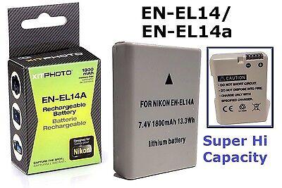 Hi Capacity EN-EL14a EN-EL14 Lithium Ion Battery for Nikon D3400 D5600