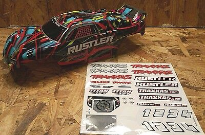 NEW TRAXXAS RUSTLER VXL COURTNEY FORCE EDITION BODY AND DECALS