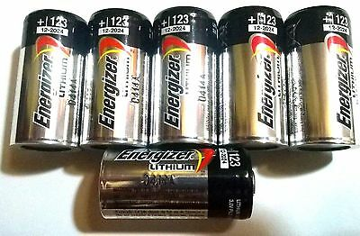 6 FRESH Energizer CR123A 3V Lithium Battery for Alarm Laser Flashlight USA 2028