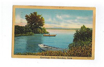 CHEROKEE IOWA, Greetings From - to KANSAS CITY  1947 - Boats, Lake - Linen PC