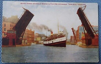 Postcard Of State Street Bascule Bridge In Chicago   Steamship