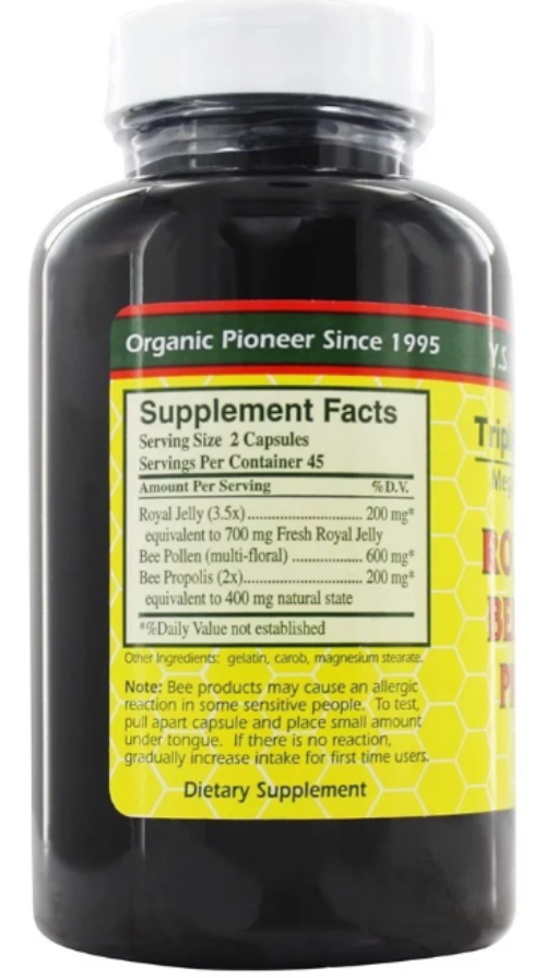 YS Organic Triple Bee Complex Royal Jelly Bee Pollen Propolis -90 Capsules 1
